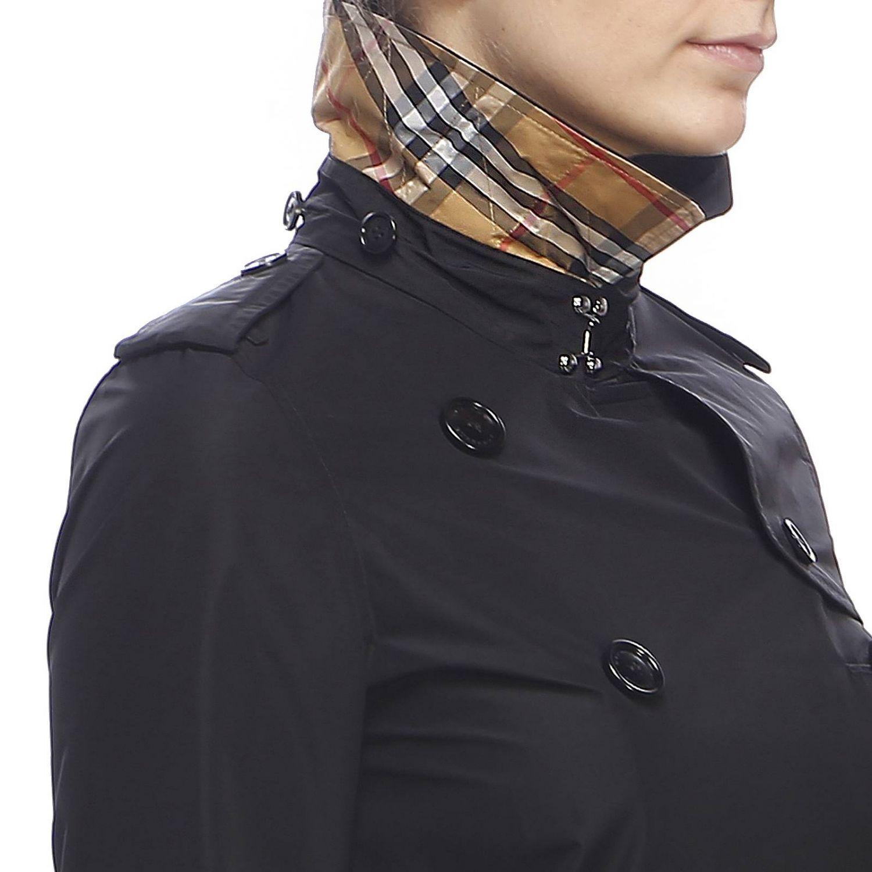 Trench coat Kensington medio in nylon impermeabile con sotto collo check Burberry nero 5