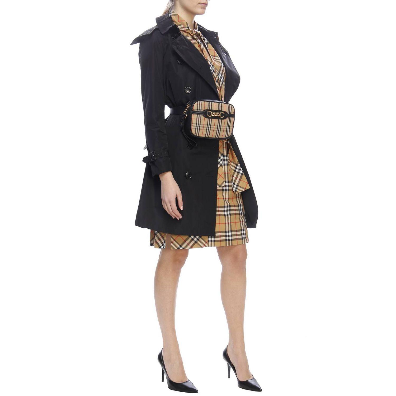 Trench coat Kensington medio in nylon impermeabile con sotto collo check Burberry nero 6