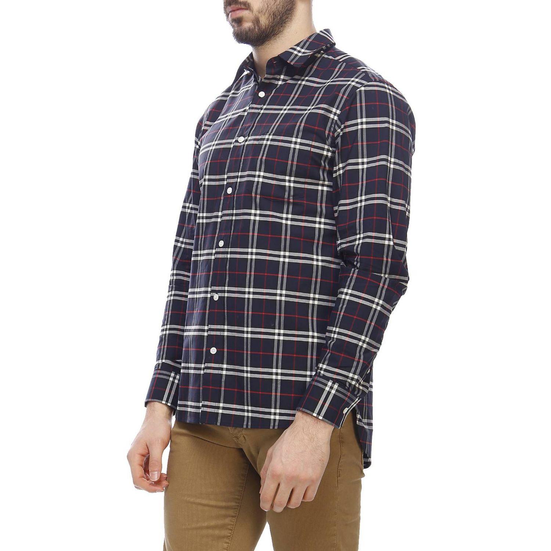 Camicia George in cotone check Burberry con collo italiano blue navy 2