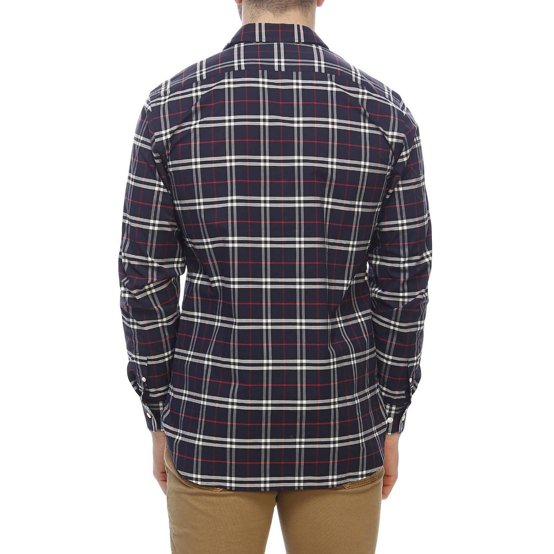 Camicia George in cotone check Burberry con collo italiano blue navy 3
