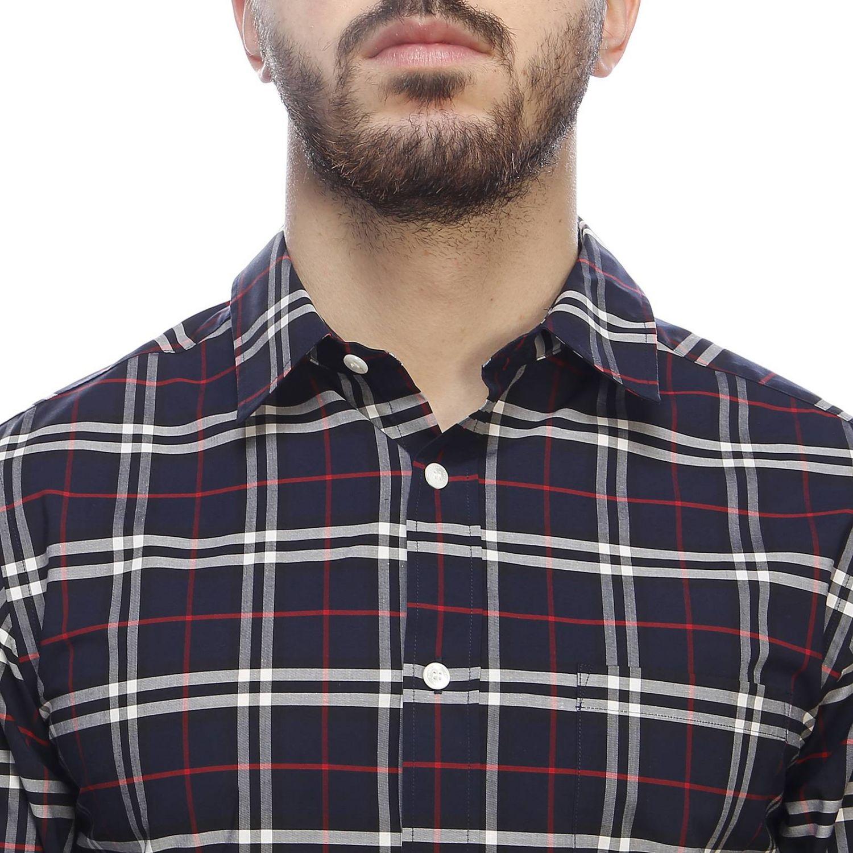 Camicia George in cotone check Burberry con collo italiano blue navy 4