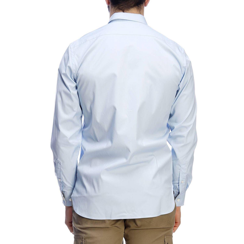 Camicia William in tessuto stretch con ricamo cavaliere equestre e collo italiano celeste 3
