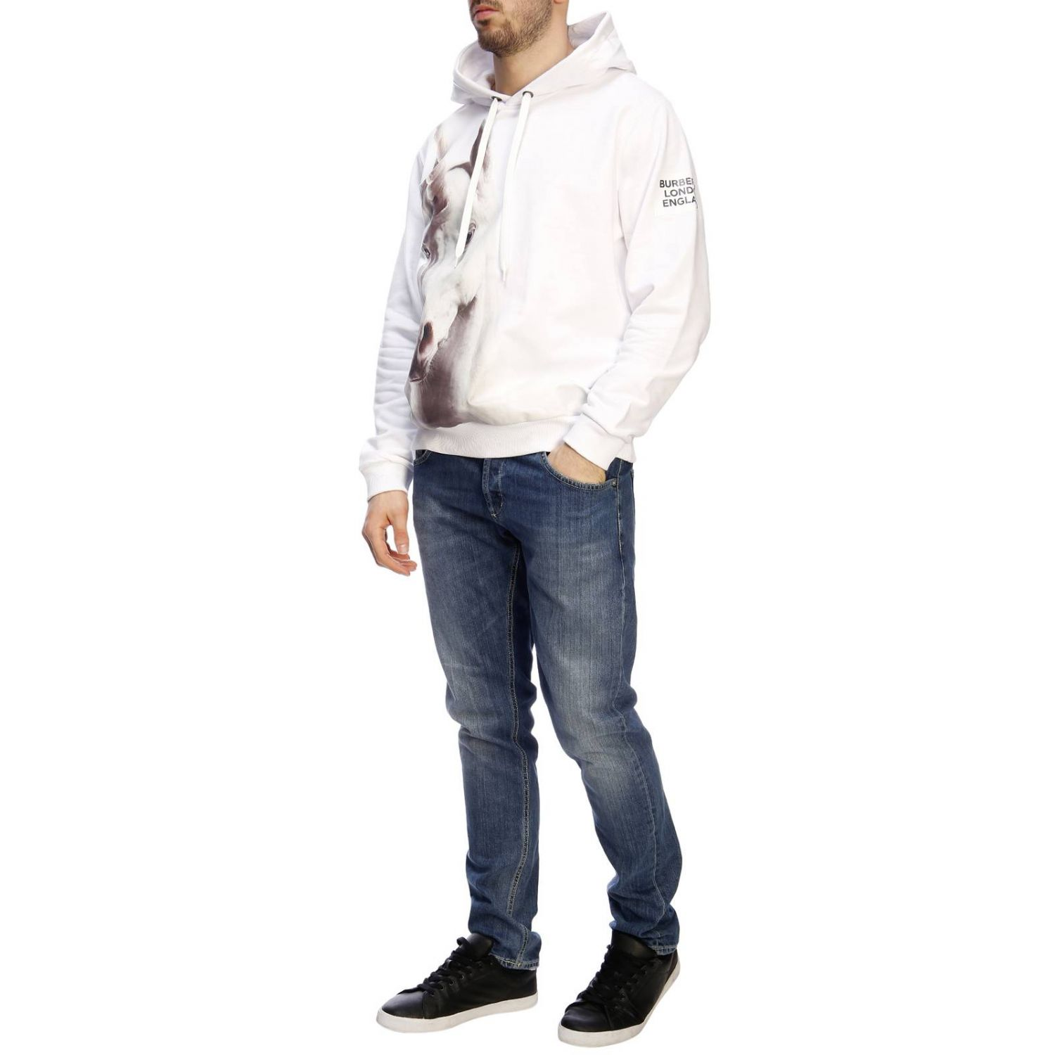 Pull homme Burberry blanc 5