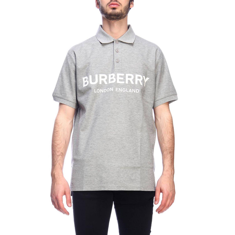 Polo basic a maniche corte con stampa Burberry grigio 1