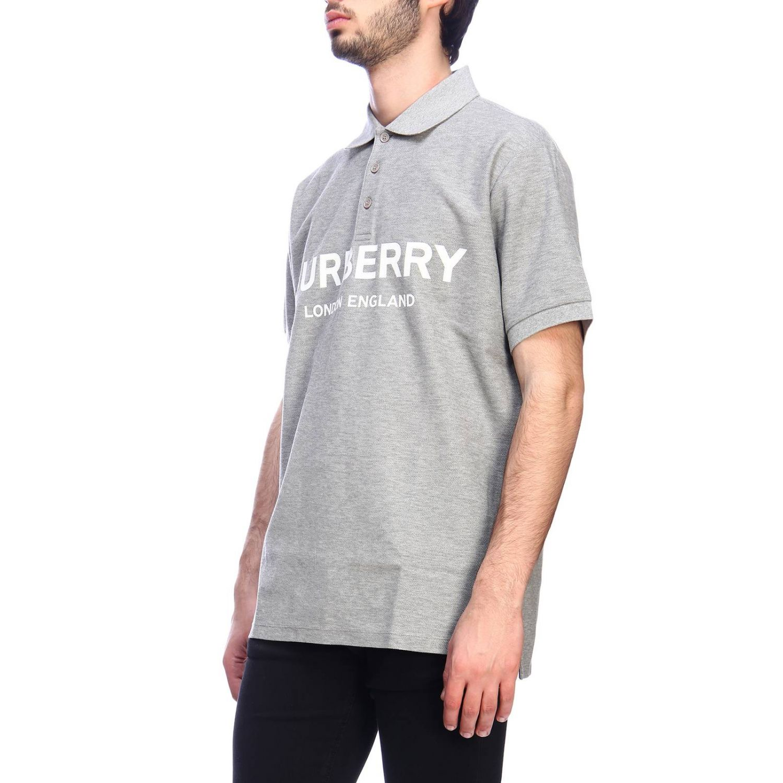Polo basic a maniche corte con stampa Burberry grigio 2