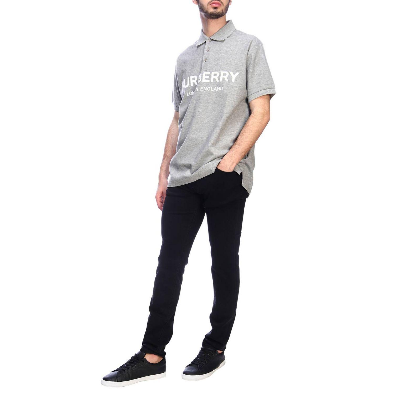Polo basic a maniche corte con stampa Burberry grigio 4