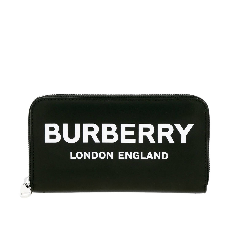Portafoglio Burberry in pelle liscia con maxi logo nero 1