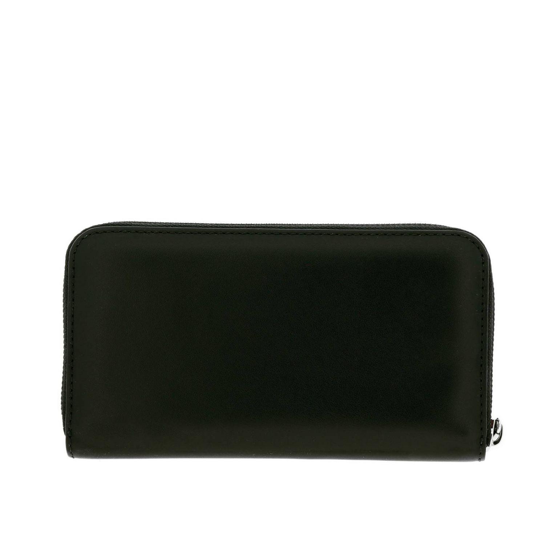 Portafoglio Burberry in pelle liscia con maxi logo nero 3