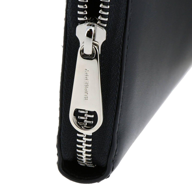 Portafoglio Burberry in pelle liscia con maxi logo nero 4