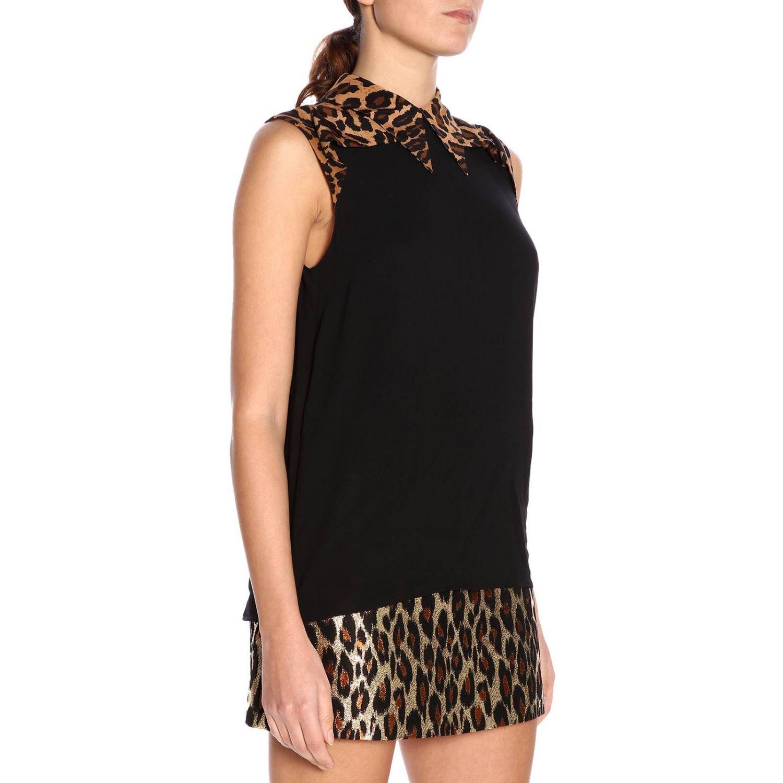 Camicia Miu Miu: Camicia senza maniche con collo maculato nero 2