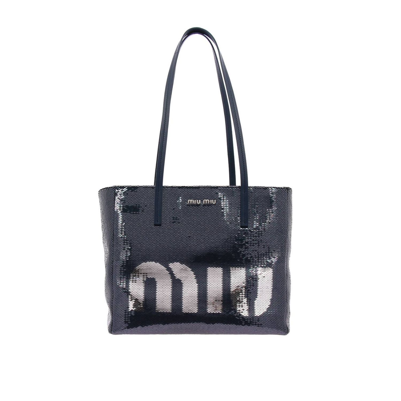 Borsa shopping bag medium in pelle laminata con paillettes all over e maxi logo Miu Miu blue 1