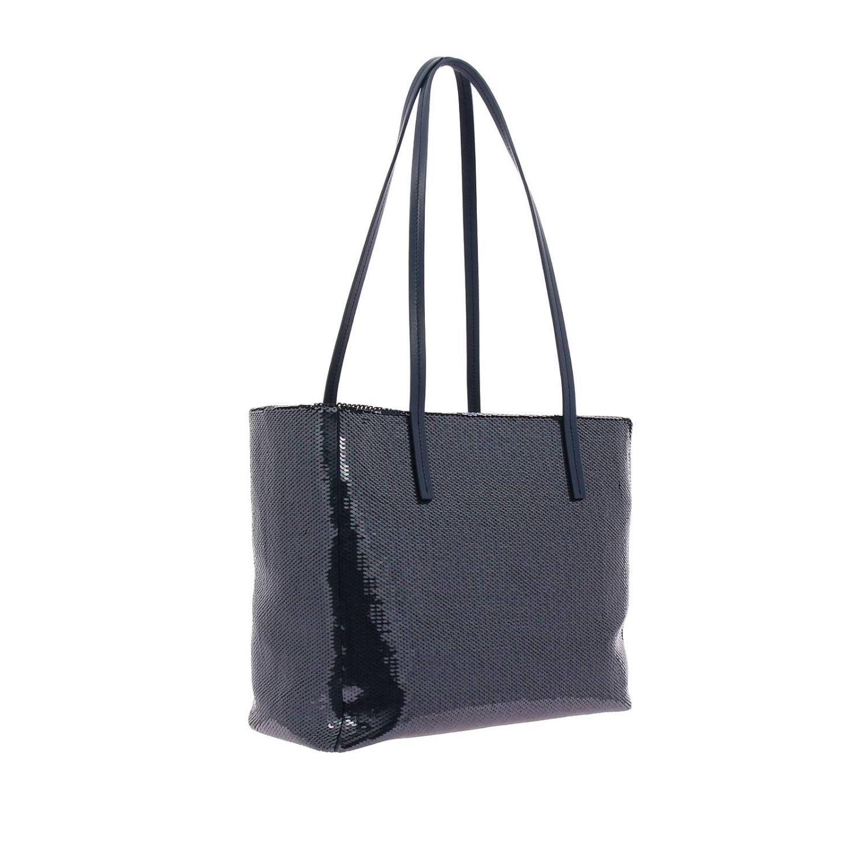 Borsa shopping bag medium in pelle laminata con paillettes all over e maxi logo Miu Miu blue 3
