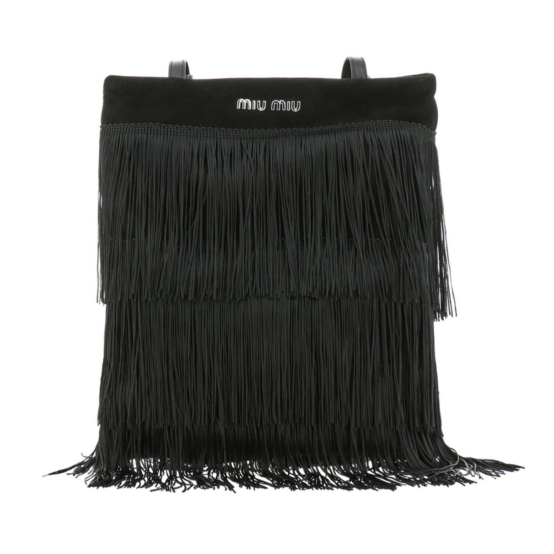 Borsa mini shopping bag in camoscio con frange all over e logo Miu Miu nero 1