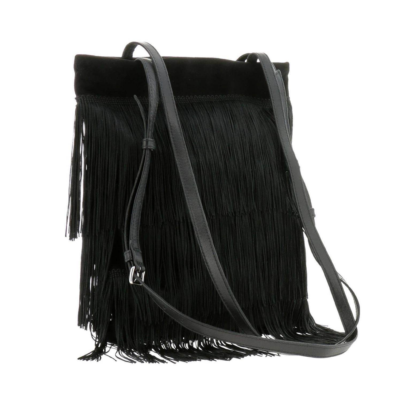 Borsa mini shopping bag in camoscio con frange all over e logo Miu Miu nero 3
