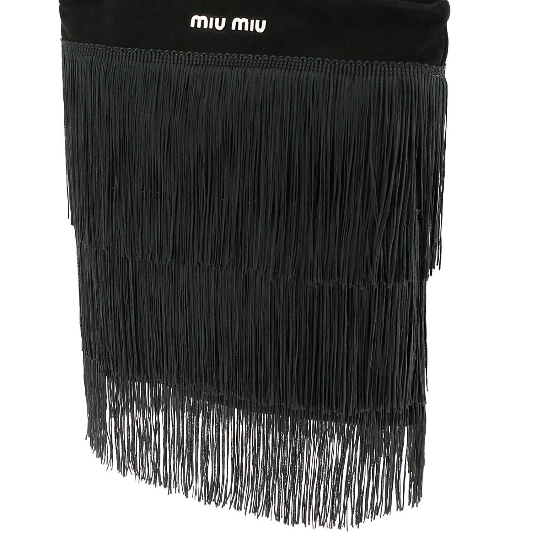 Borsa mini shopping bag in camoscio con frange all over e logo Miu Miu nero 4