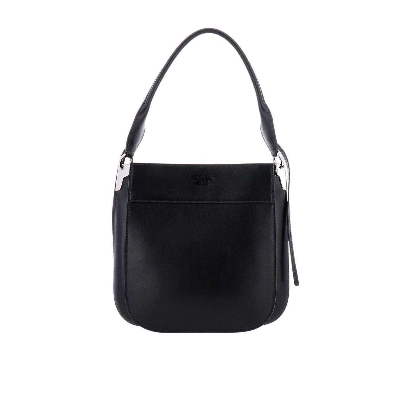 Prada Grand sac Margit dans un sac en cuir avec logo Prada monochrome noir 1