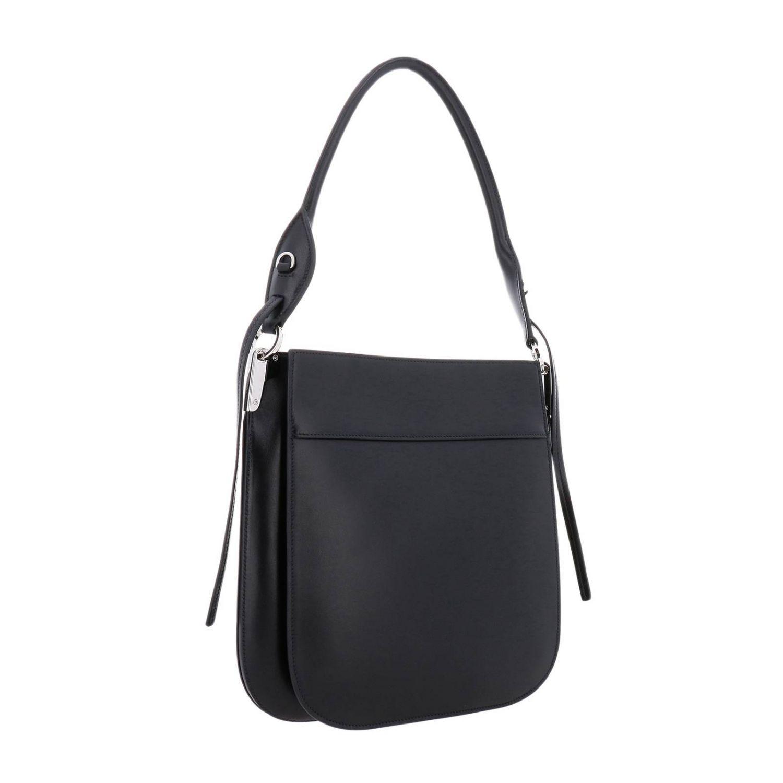 Prada Grand sac Margit dans un sac en cuir avec logo Prada monochrome noir 3