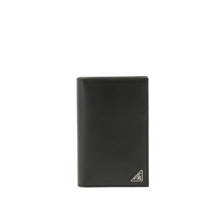 Portafoglio a libro verticale in pelle saffiano con classico logo triangolare Prada nero 1