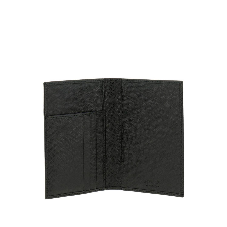Portafoglio a libro verticale in pelle saffiano con classico logo triangolare Prada nero 2