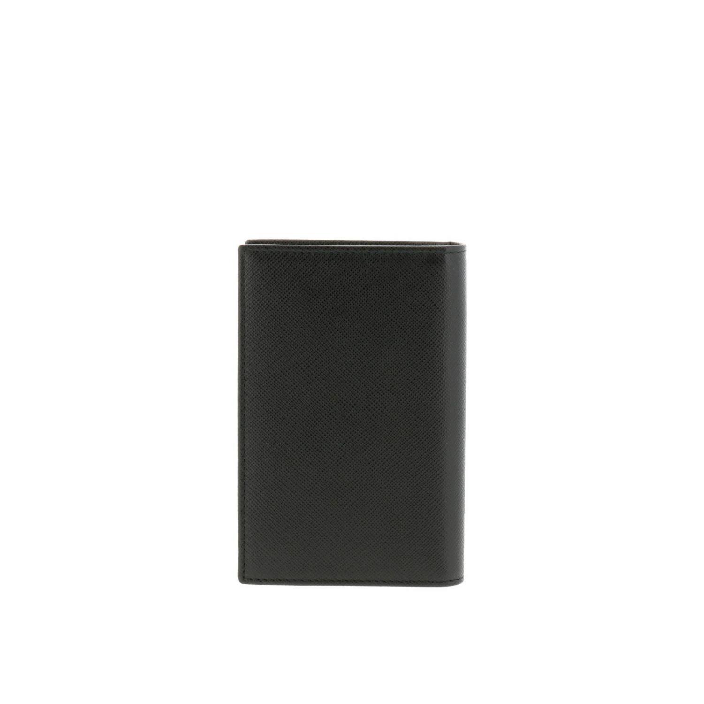 Portafoglio a libro verticale in pelle saffiano con classico logo triangolare Prada nero 3