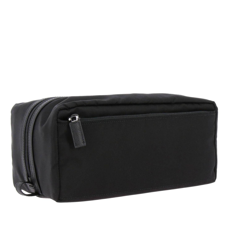 Beauty Case in nylon con logo triangolare Prada nero 2