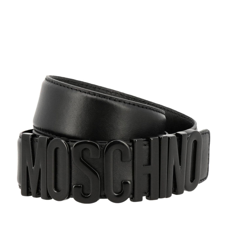 Cintura in pelle con maxi logo metallico nero 1