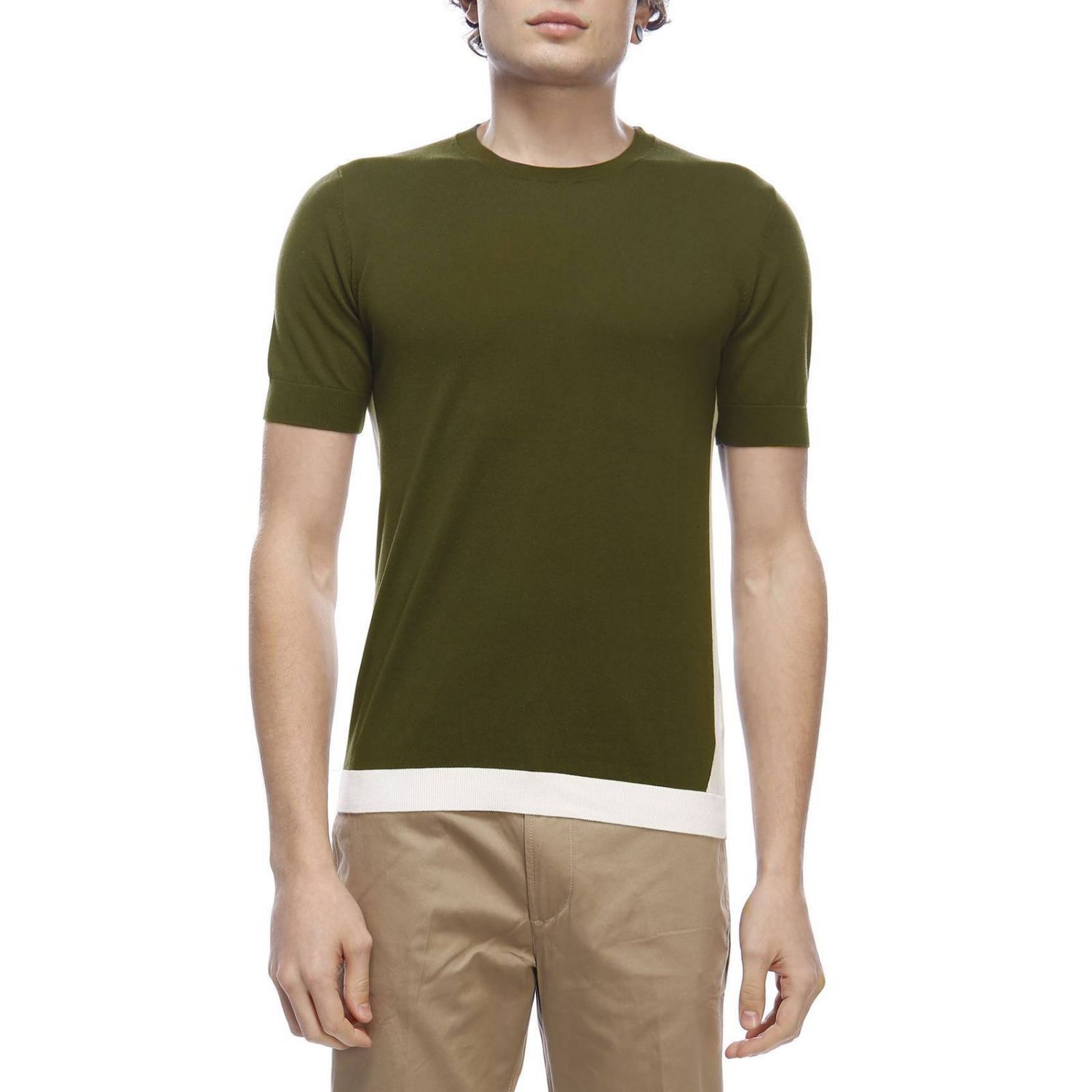 Pull homme Paolo Pecora vert militaire 1