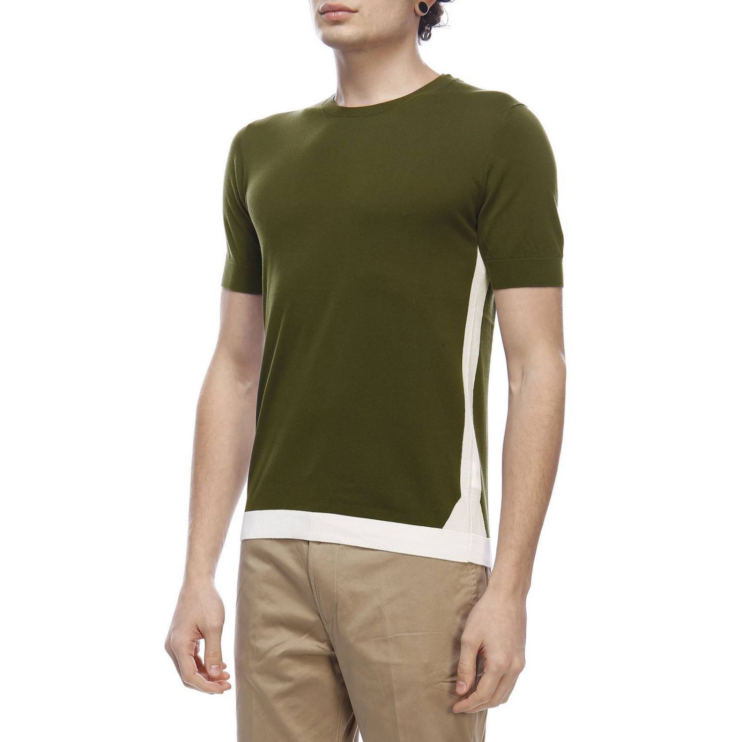 Pull homme Paolo Pecora vert militaire 2
