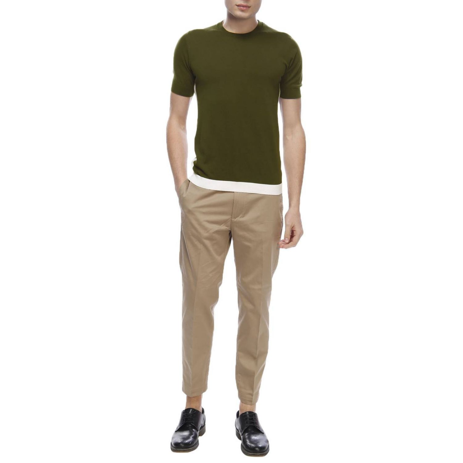 Pull homme Paolo Pecora vert militaire 4