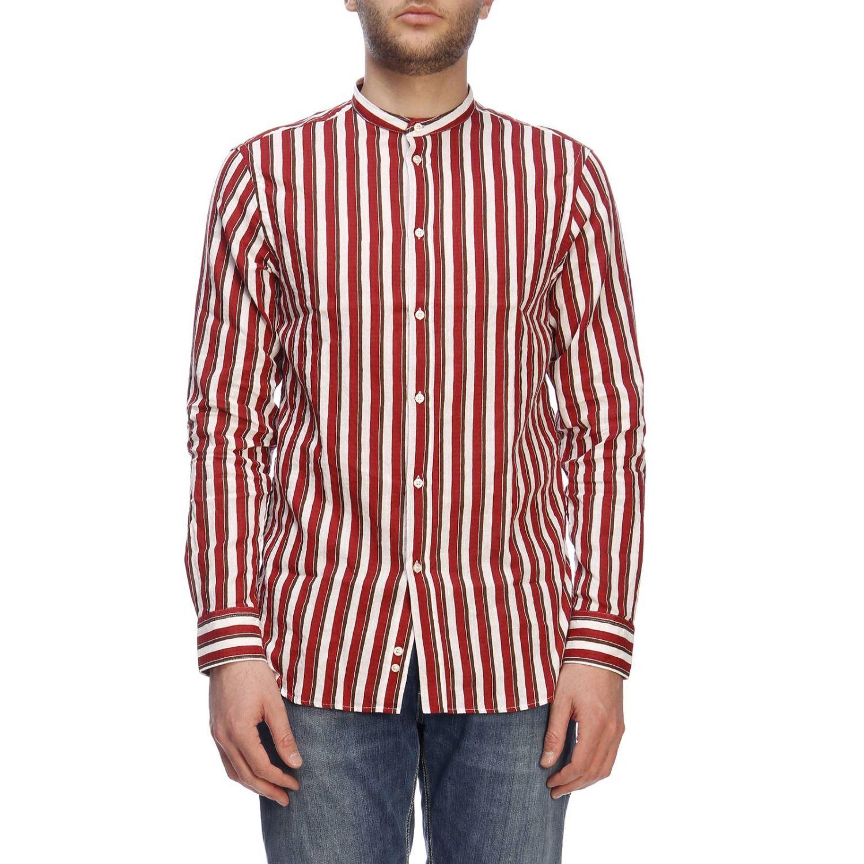 Camicia basic in lino e cotone a righe con collo alla coreana bordeaux 1