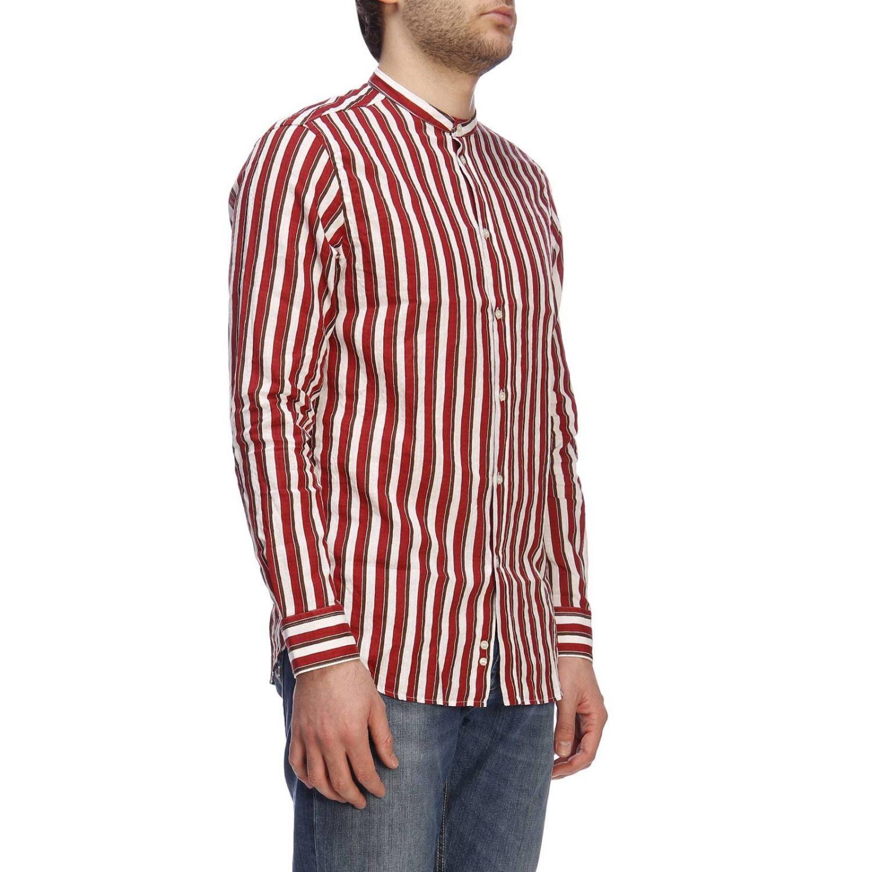Camicia basic in lino e cotone a righe con collo alla coreana bordeaux 2