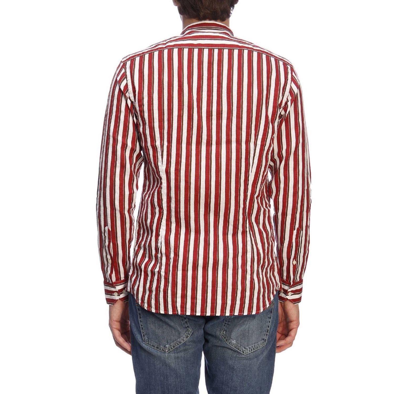Camicia basic in lino e cotone a righe con collo alla coreana bordeaux 3