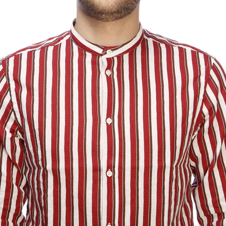 Camicia basic in lino e cotone a righe con collo alla coreana bordeaux 4