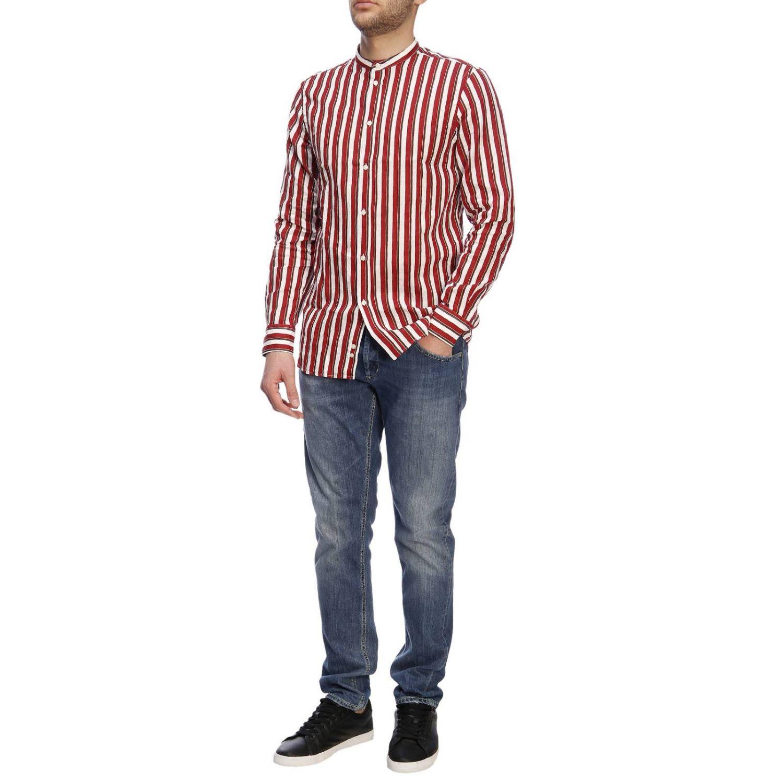 Camicia basic in lino e cotone a righe con collo alla coreana bordeaux 5