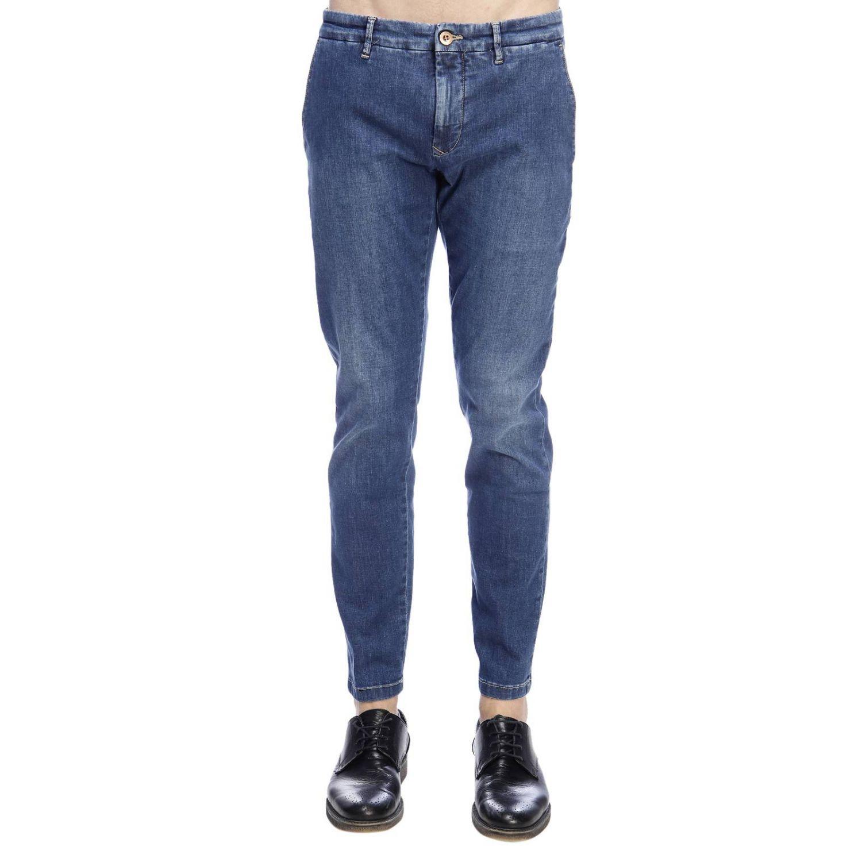 Jeans slim fit in denim stretch con fondo 17 e tasche america denim 1