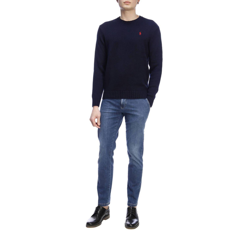 Jeans slim fit in denim stretch con fondo 17 e tasche america denim 4