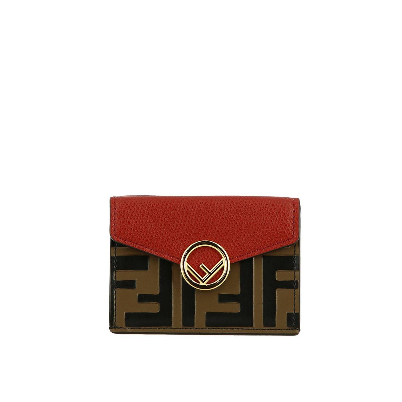 Portafoglio mini in pelle liscia con stampa FF embossed Fendi rosso 1