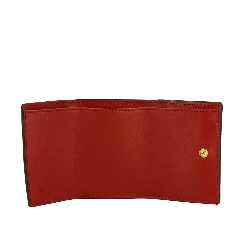 Portafoglio mini in pelle liscia con stampa FF embossed Fendi rosso 2