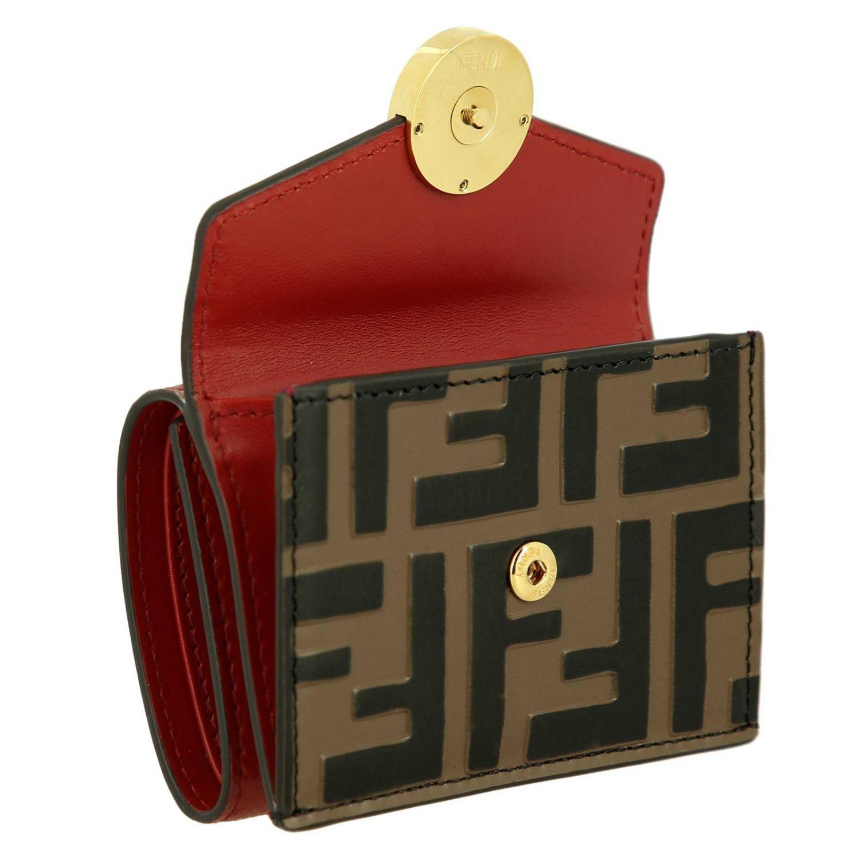 Portafoglio mini in pelle liscia con stampa FF embossed Fendi rosso 3