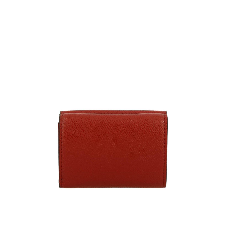 Portafoglio mini in pelle liscia con stampa FF embossed Fendi rosso 4