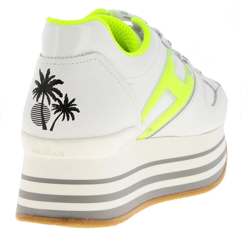 Sneakers 283 Maxi platform 222 in pelle con H in gel fluo