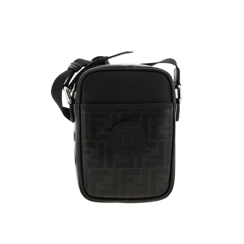 Borsello a tracolla in pelle liscia e vetrifica con stampa monogramma FF by Fendi nero 1