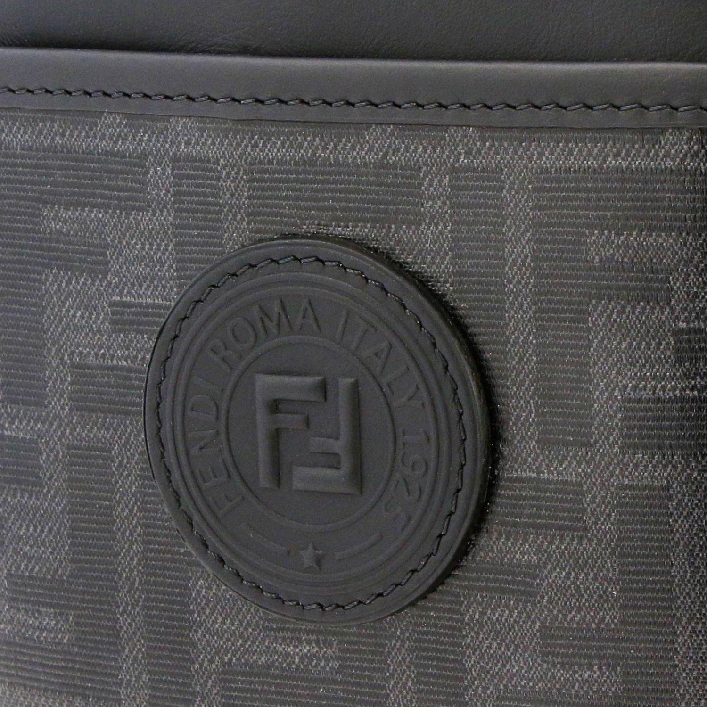 Borsello a tracolla in pelle liscia e vetrifica con stampa monogramma FF by Fendi nero 4