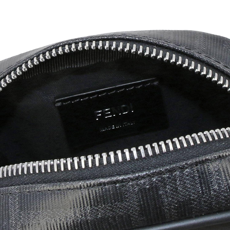Borsello a tracolla in pelle liscia e vetrifica con stampa monogramma FF by Fendi nero 5