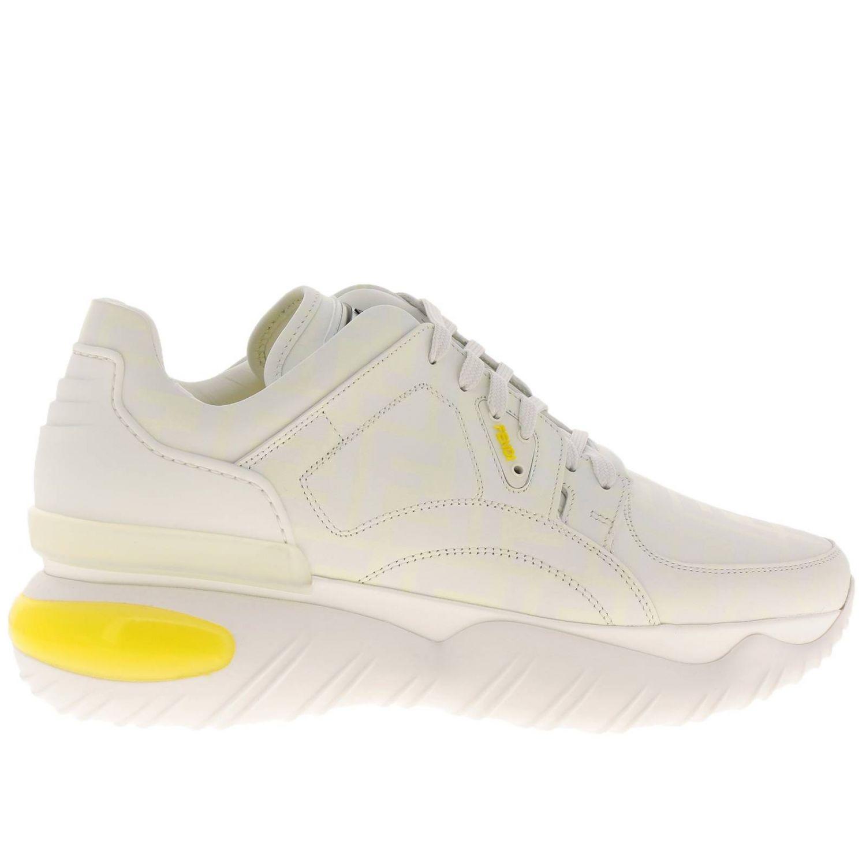Sneakers Fancy Fendi stringata in pelle con stampa FF fotosensibile bianco 1