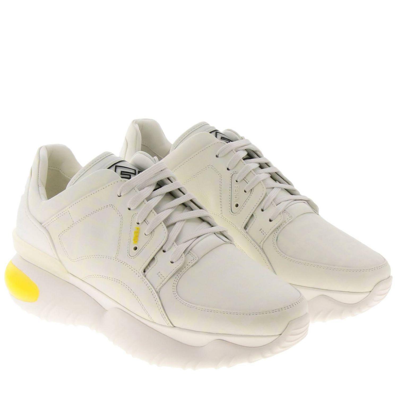Sneakers Fancy Fendi stringata in pelle con stampa FF fotosensibile bianco 2