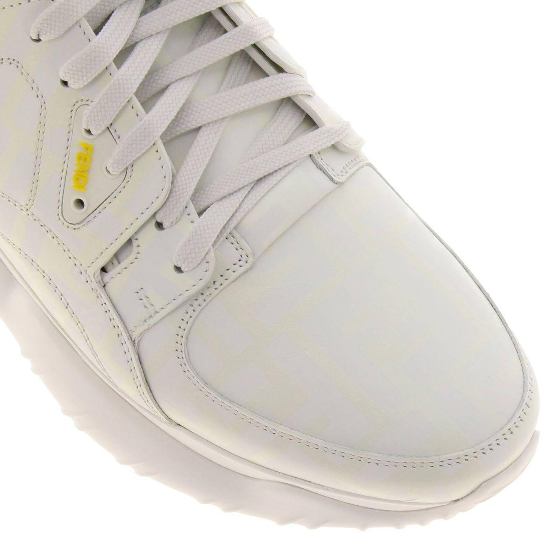 Sneakers Fancy Fendi stringata in pelle con stampa FF fotosensibile bianco 3
