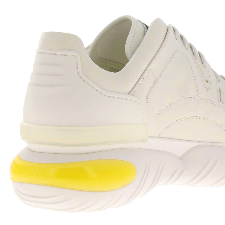 Sneakers Fancy Fendi stringata in pelle con stampa FF fotosensibile bianco 4