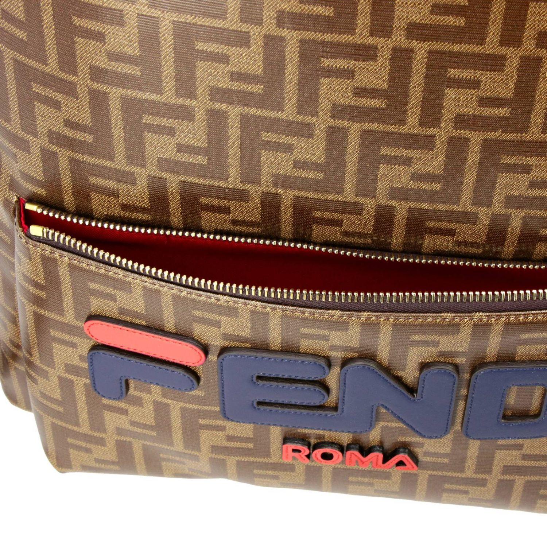 Zaino Fix in pelle vetrificata con stampa FF by Fendi marrone 5