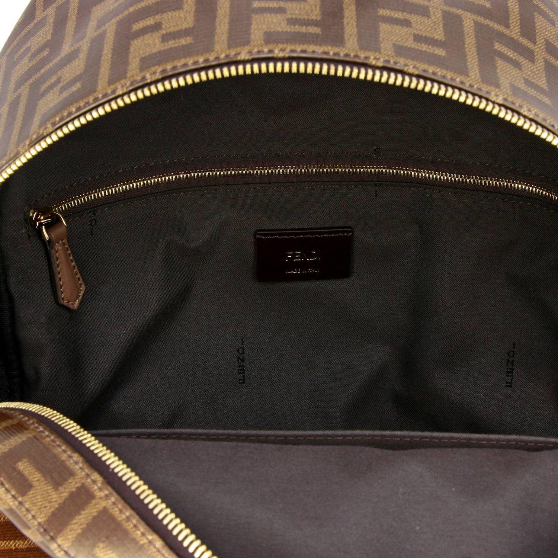 Zaino Fix in pelle vetrificata con stampa FF by Fendi marrone 6